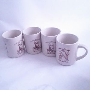 Lot of 4 Similar Coffee Mugs Believe Miracles Love